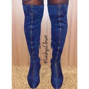 ZARA- Blue Over The Knee Zip Up Boots